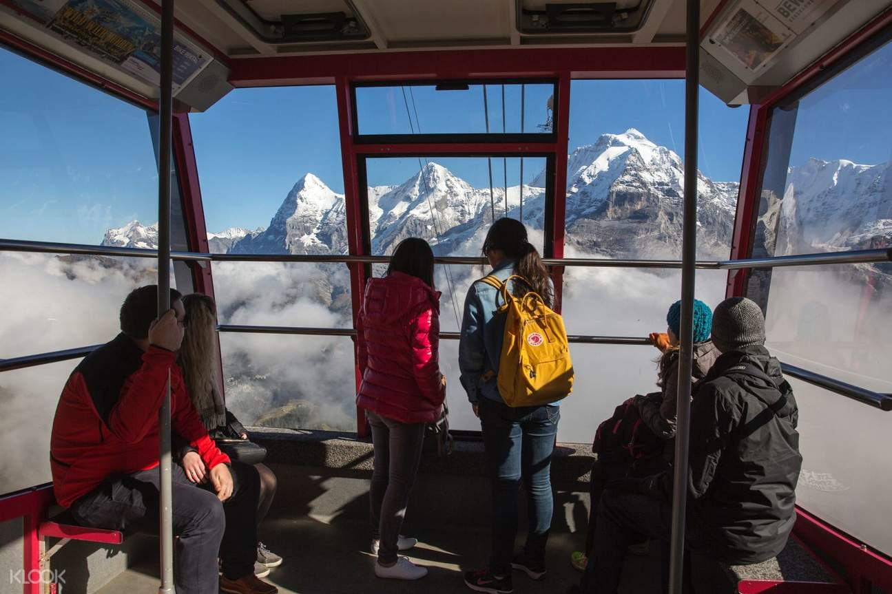 inside of cable car to Schilthorn