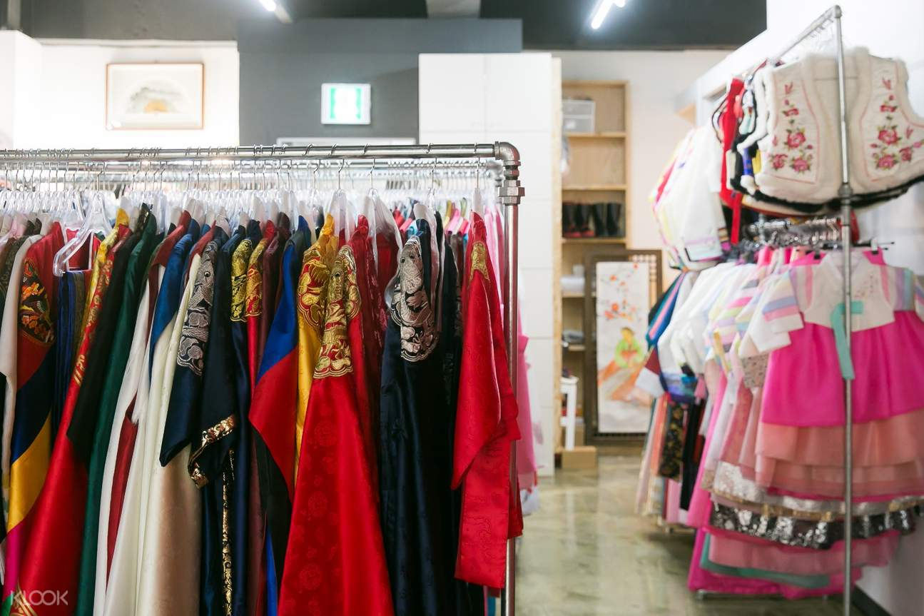 a clothing rack for hanboks