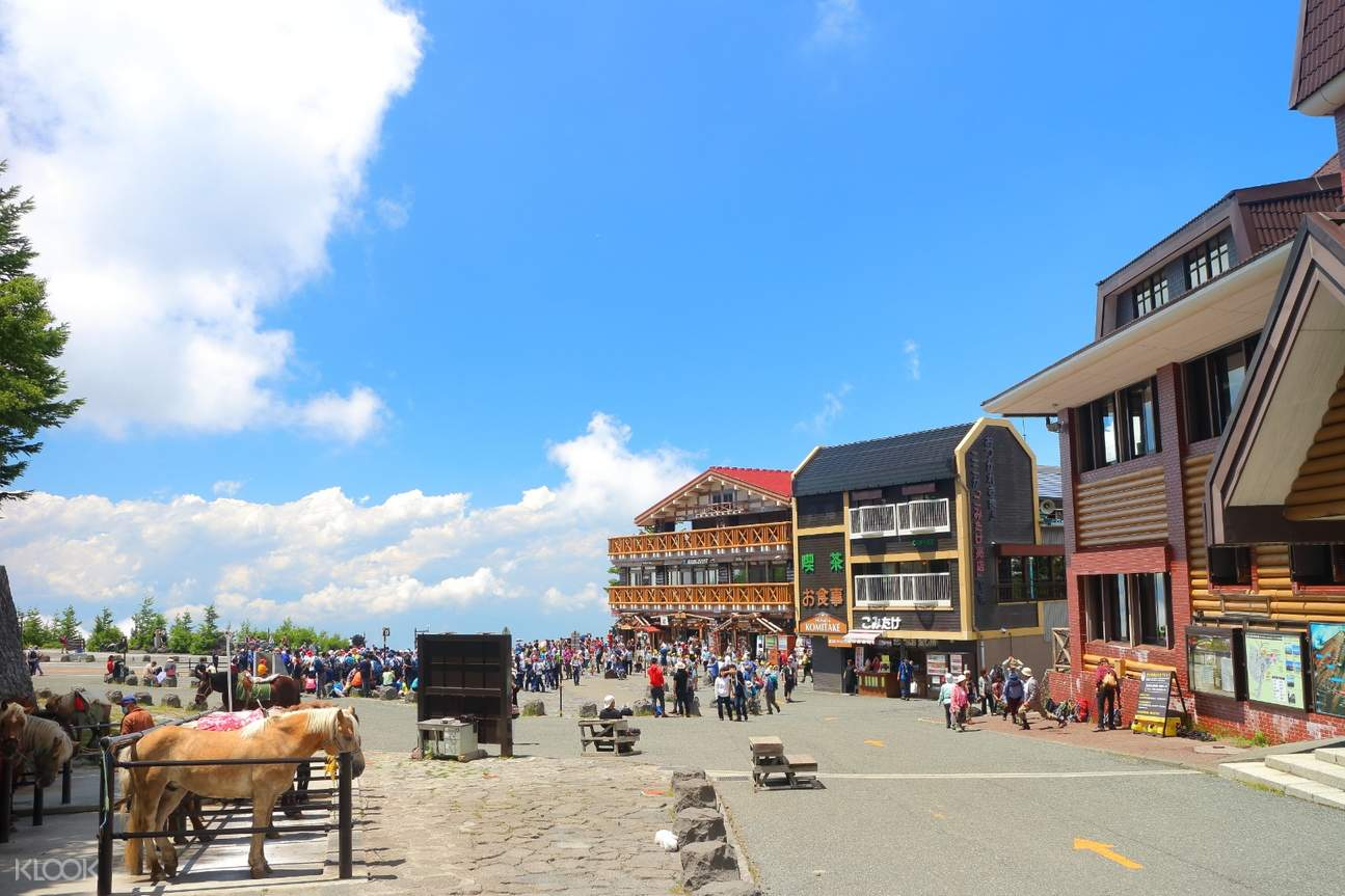 stores and buildings at the 5th station of mt fuji