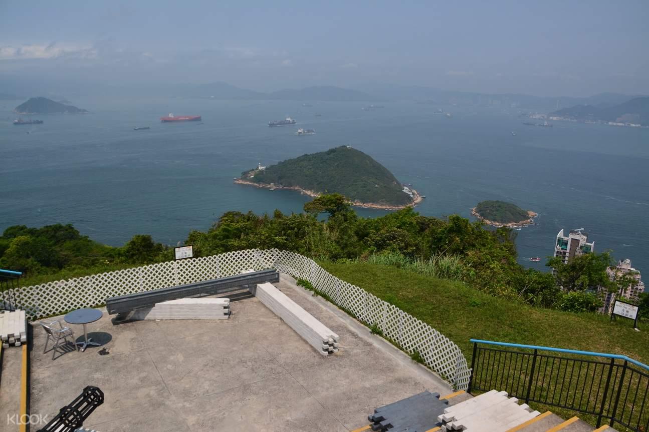 view of hong kong harbor atop the hill