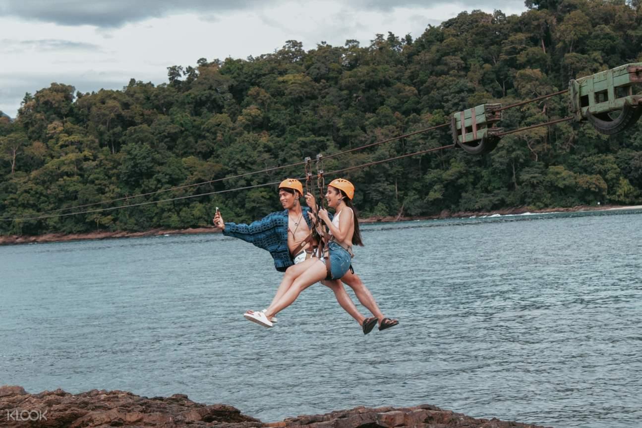 couple on zipline