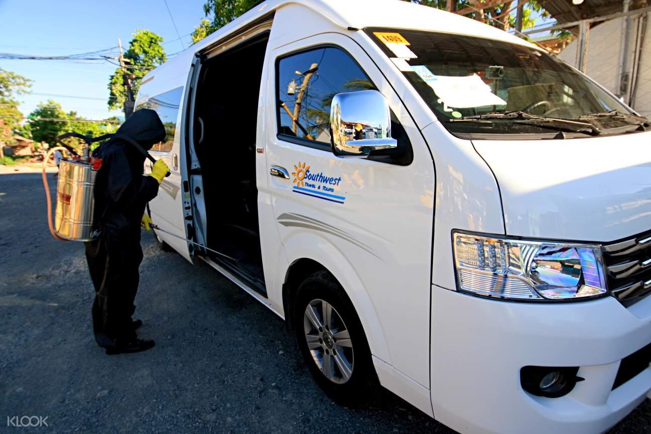 sanitized van for Kalibo transfer