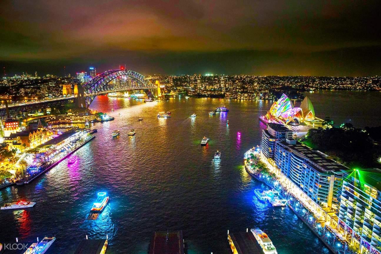 缤纷悉尼灯光音乐节库克船长游船晚餐
