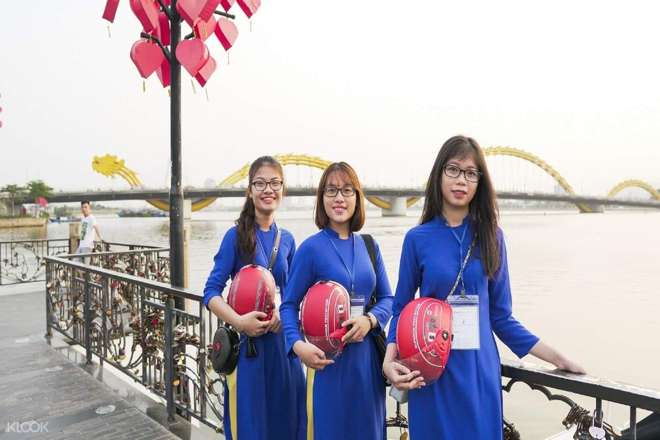 women bikers da nang street food aodai ride tour