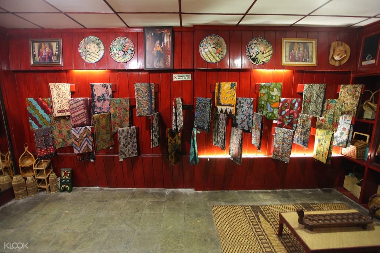 batik made cloths inside a local shop