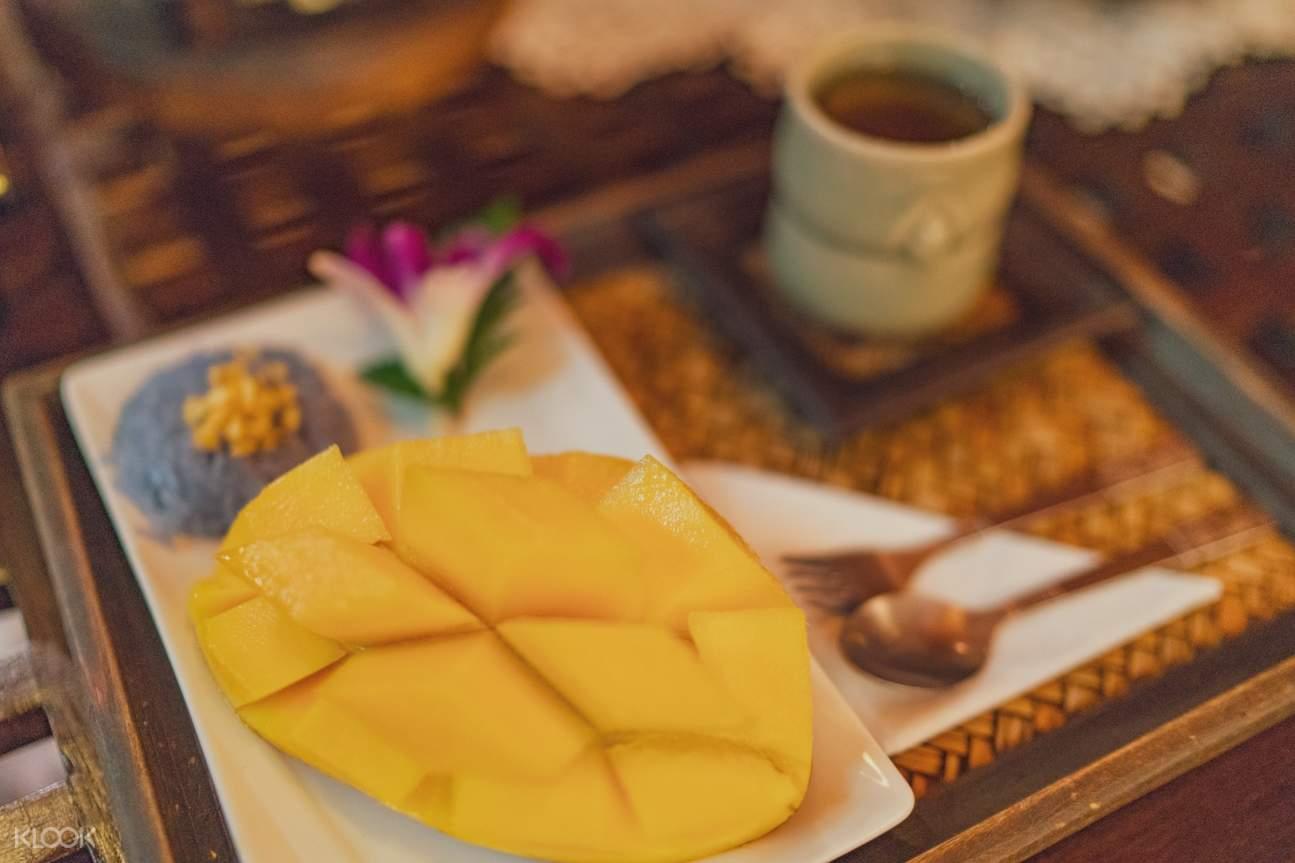 mango sticky rice dessert at makkha health and spa chiang mai