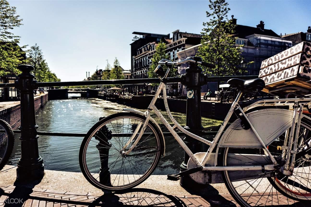 a bike beside a river