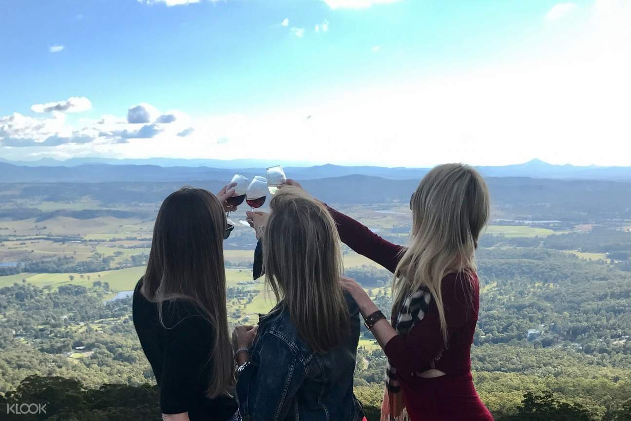 three women clinking glasses and mountainside view