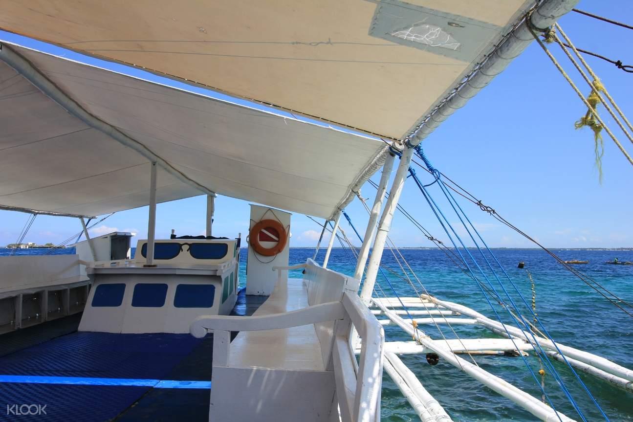 interior of a boat in Olango Island
