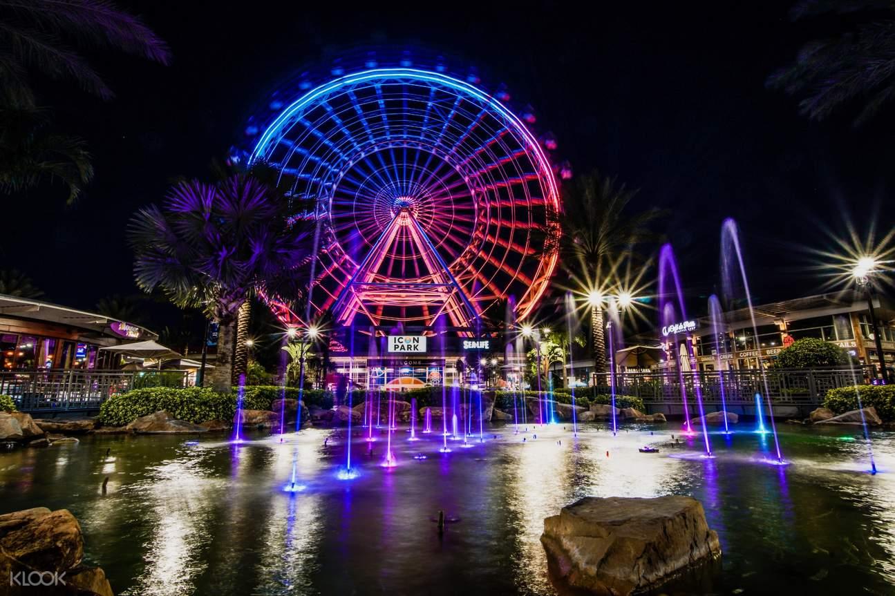 Icon Park at night