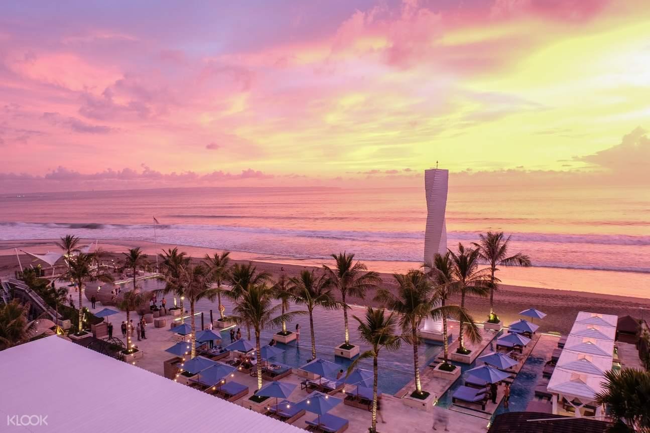 sunset at vue beach club