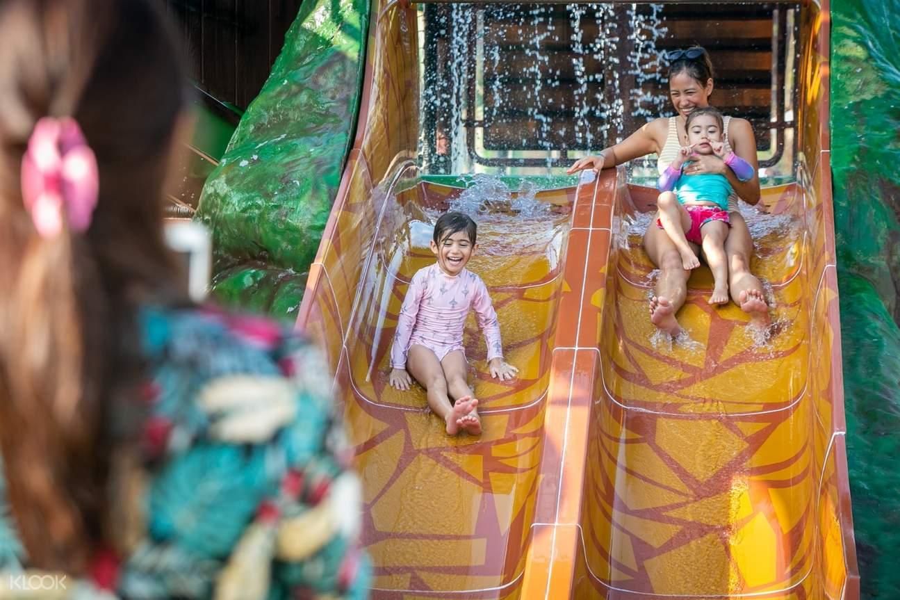 kids and mom at Family Splash Zone slides