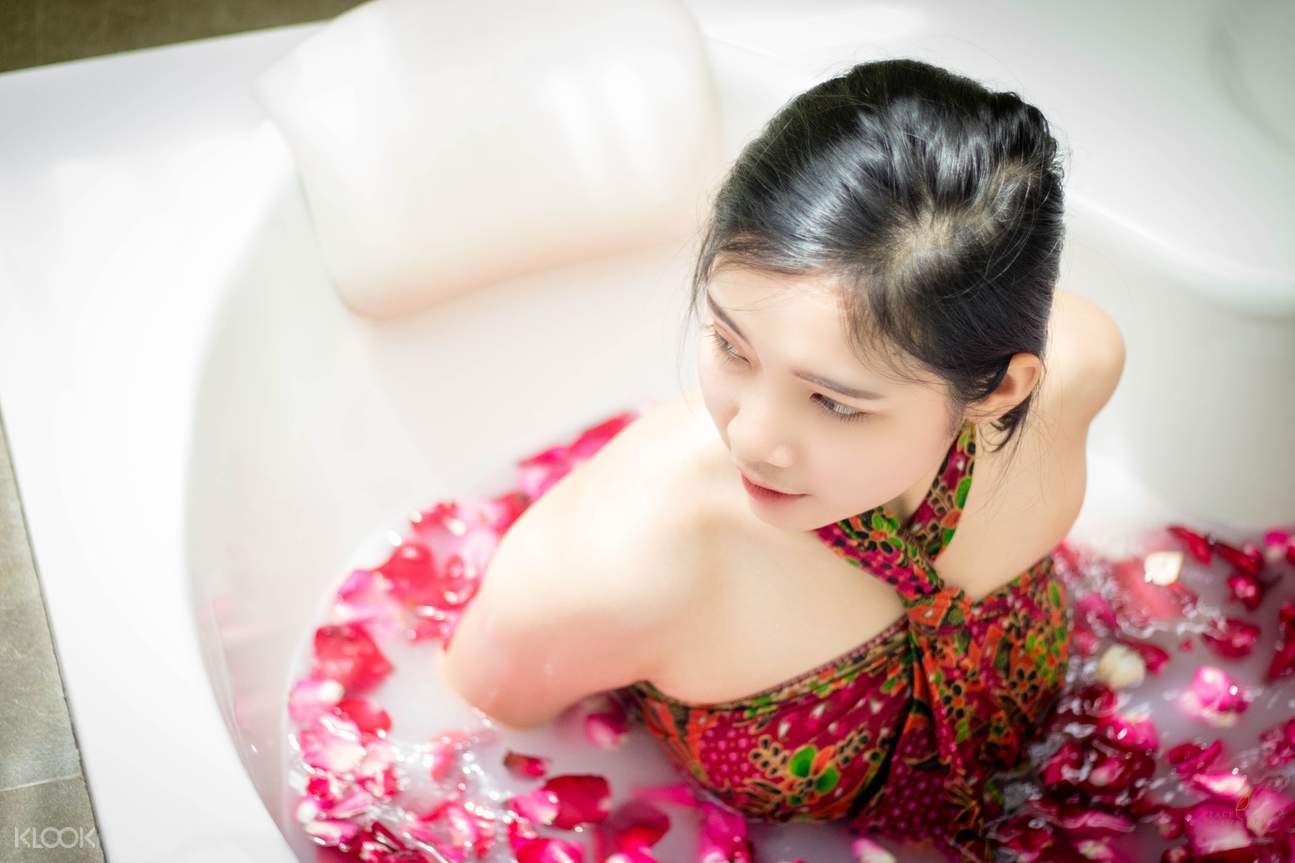 girl in spa bath