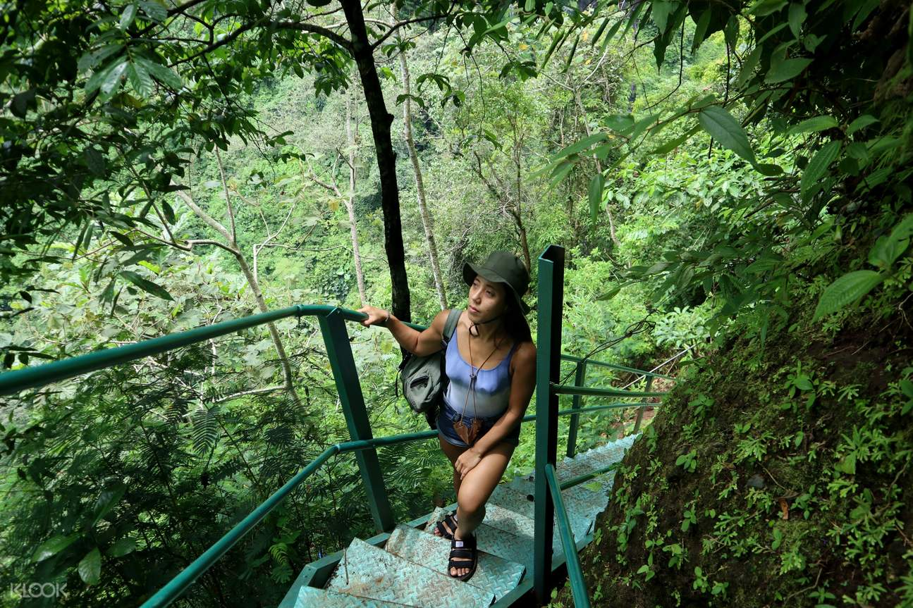 a view of the Tumpak Sewu Waterfalls and a guy enjoying the grandeur of nature