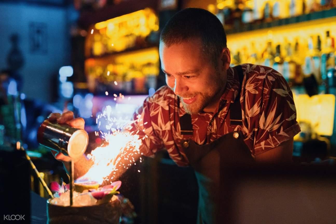 bartender making a special drink