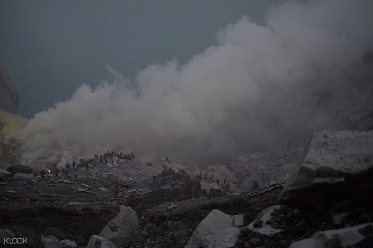 sulfur coming out of Ijen crater in Indonesia
