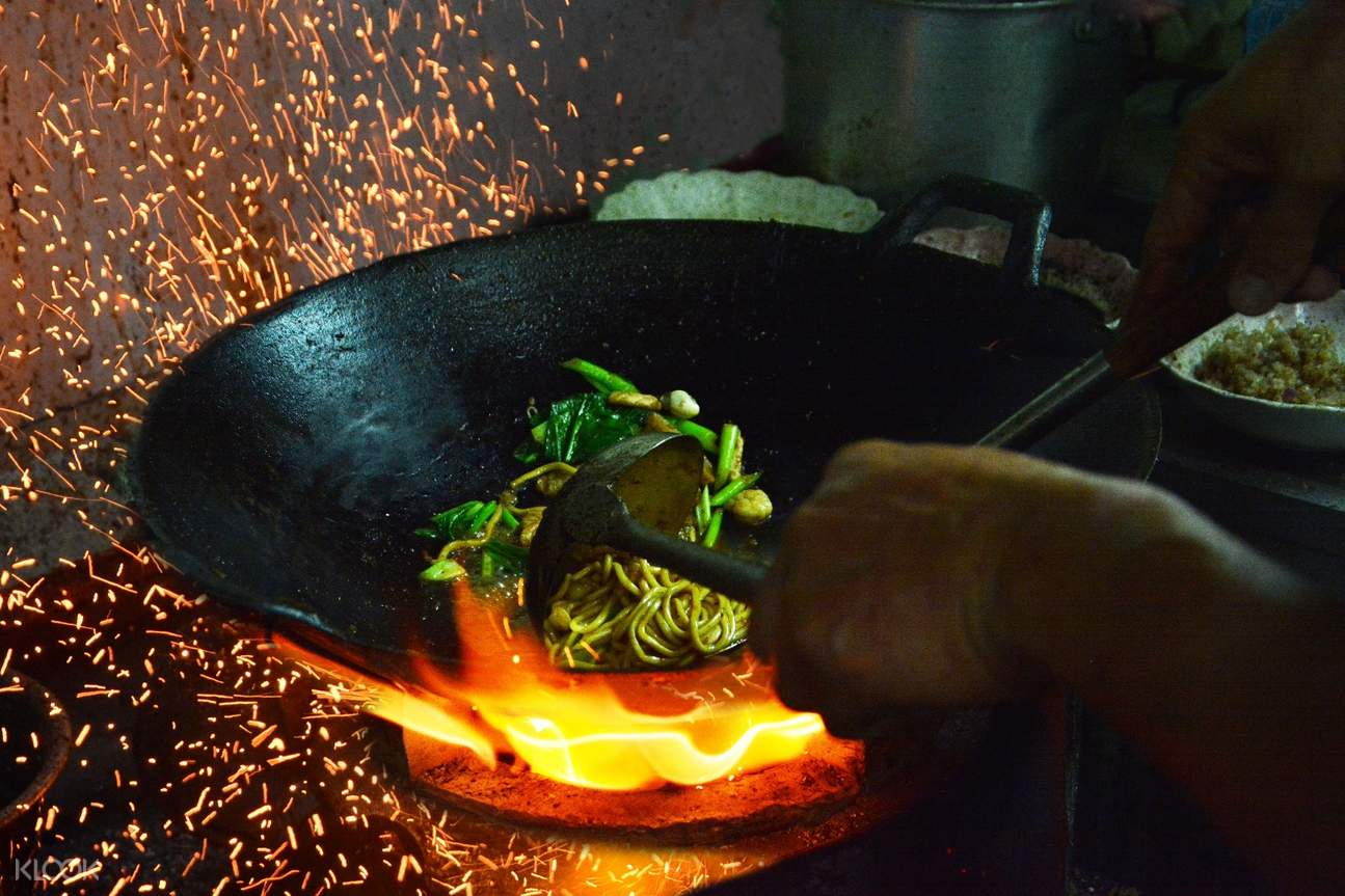Fried Hokkien Noodles (Mee Hokkien) cooked from charcoal stove