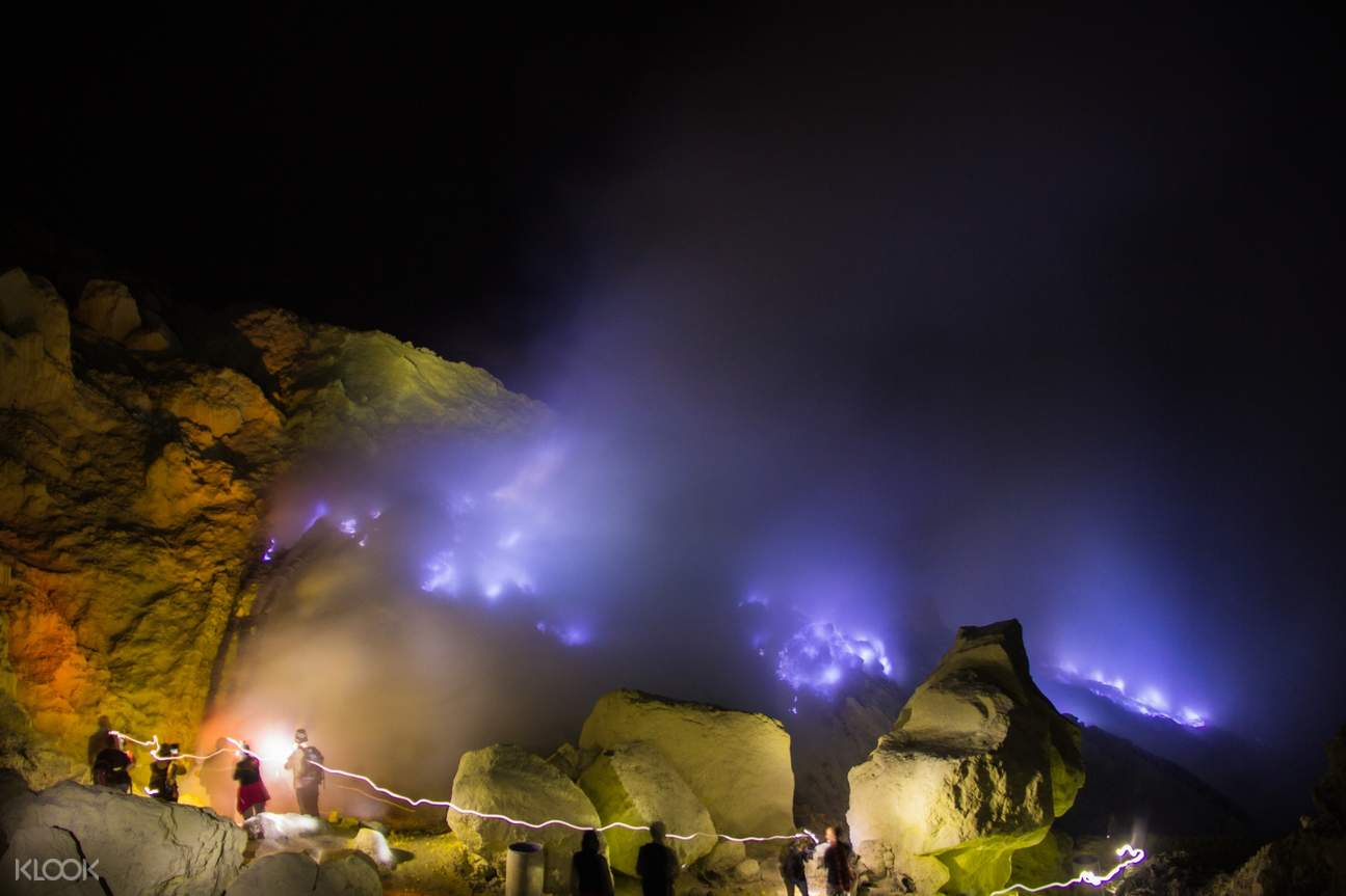 blue flames of ijen crater