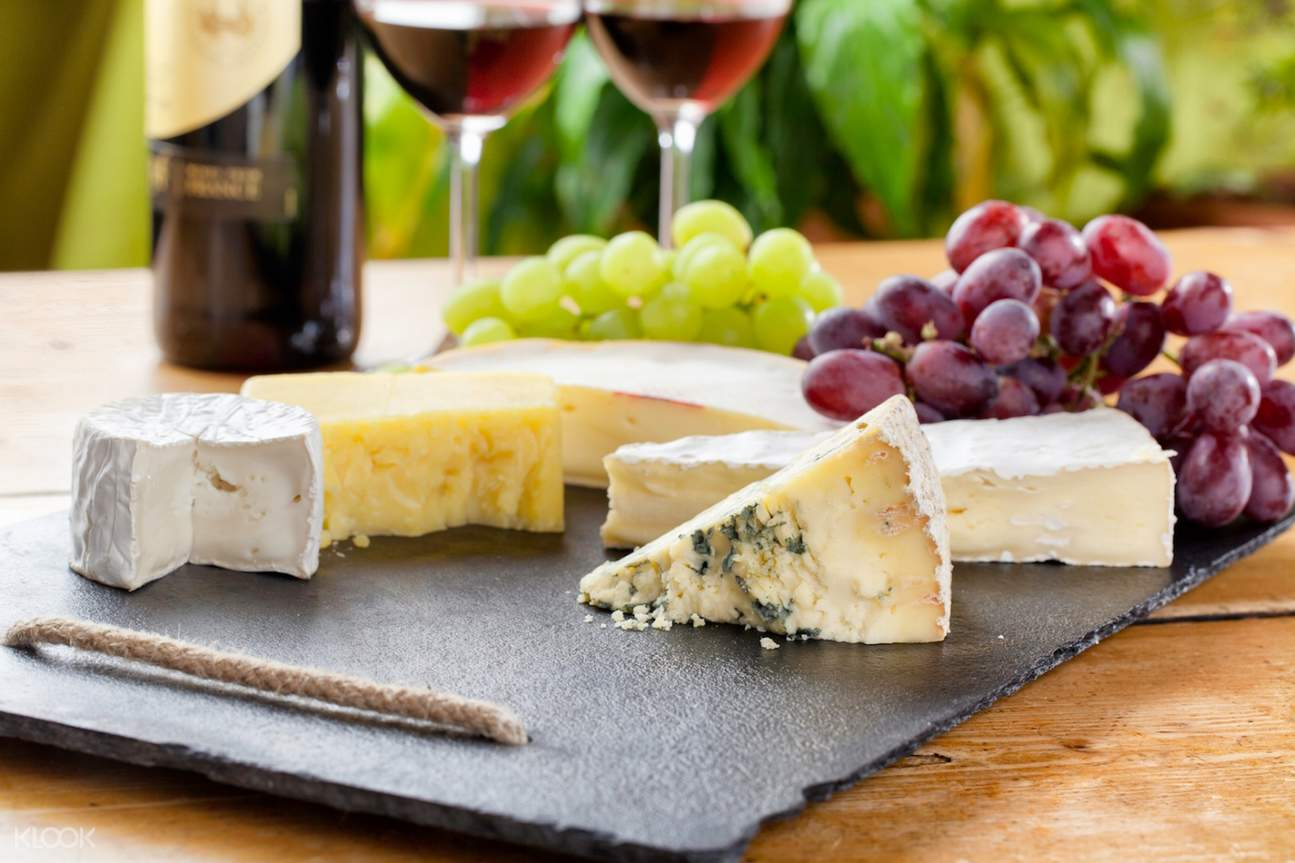 plate of cheese and wine
