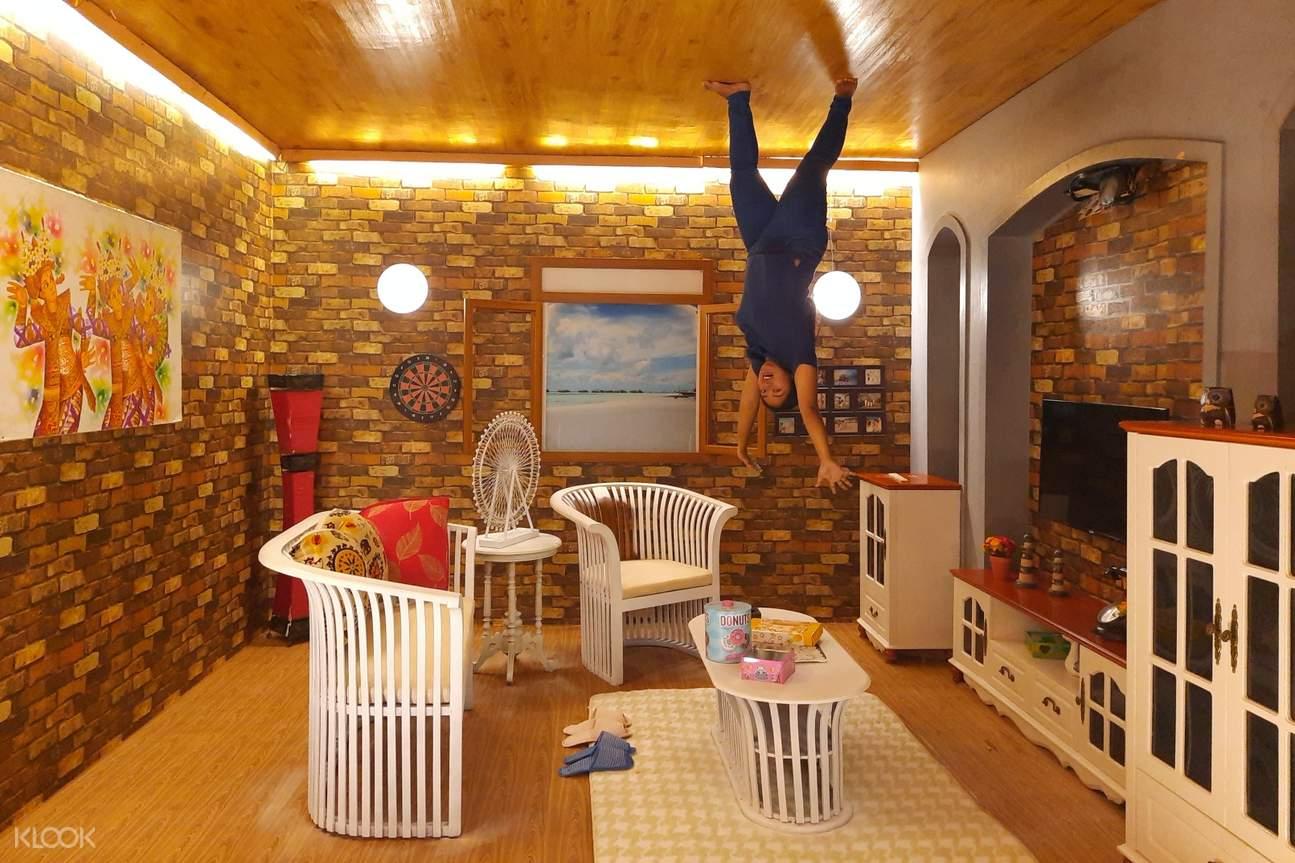 woman inside upside down world in bali