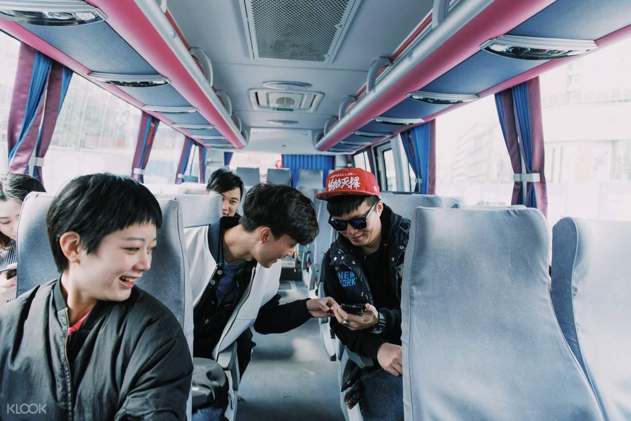 interior  of One Way Shared Transfers between Chongqiang and Jinfo Mountain shuttle bus