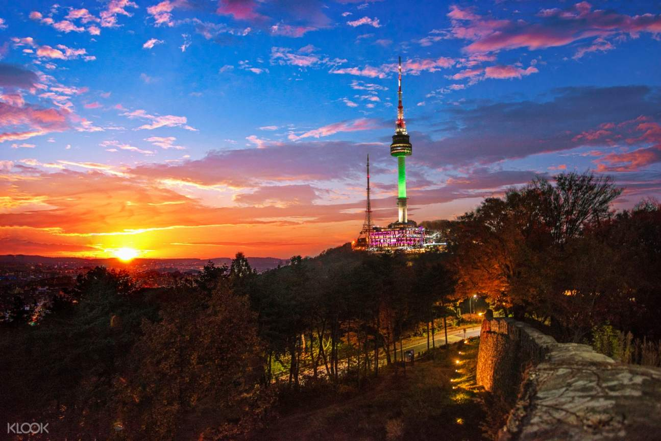 seoul tower during sunrise