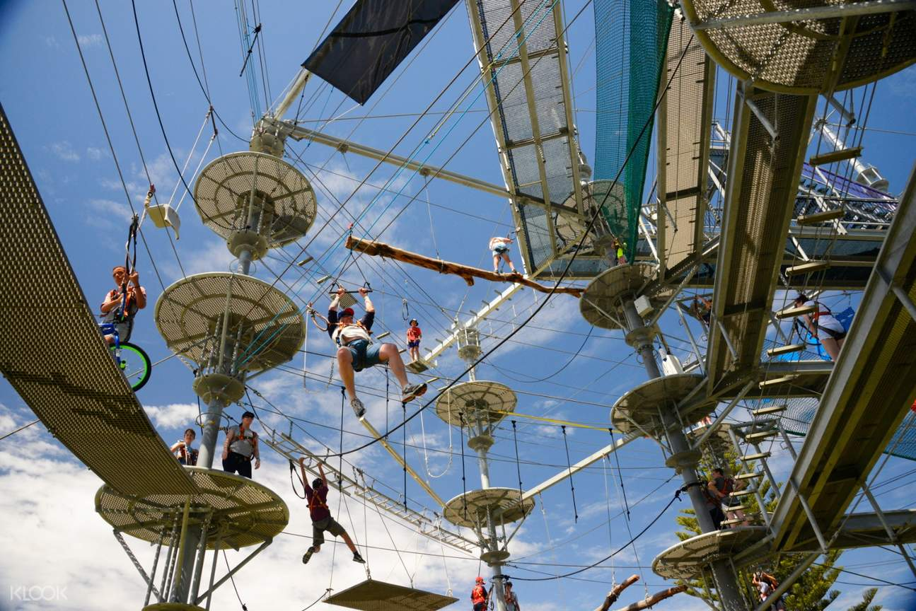 Man about to bungee jump in Mega Adventure Sky Challenge Experience in Adelaide