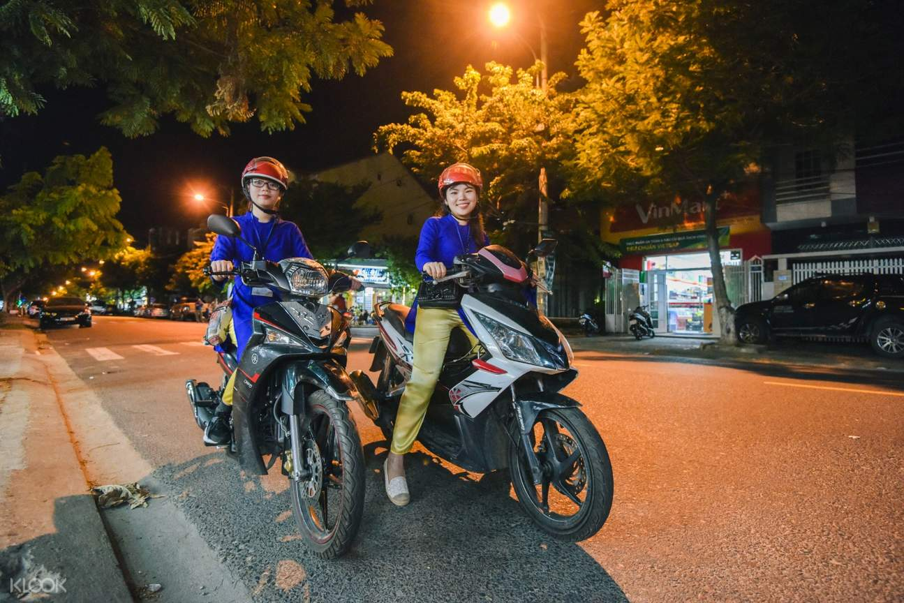 women bikers da nang street food aodai ride tour