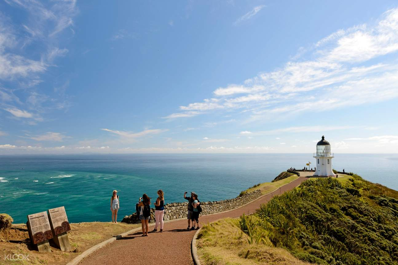 cape reinga and a beautiful view of the pristine waters of tasman sea