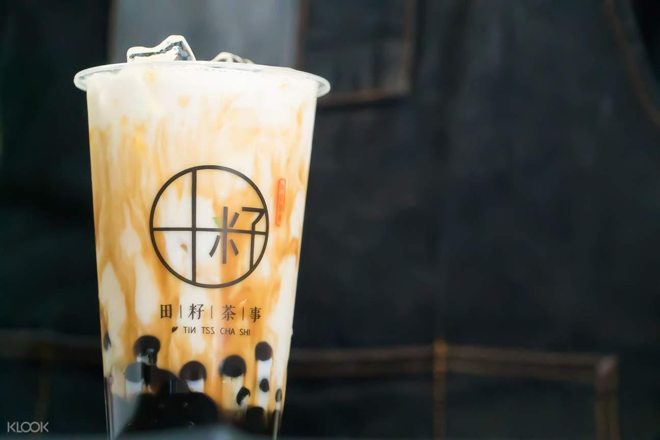 Full Cream Milk Tea with pearls at Tintszchashi in Mongkok