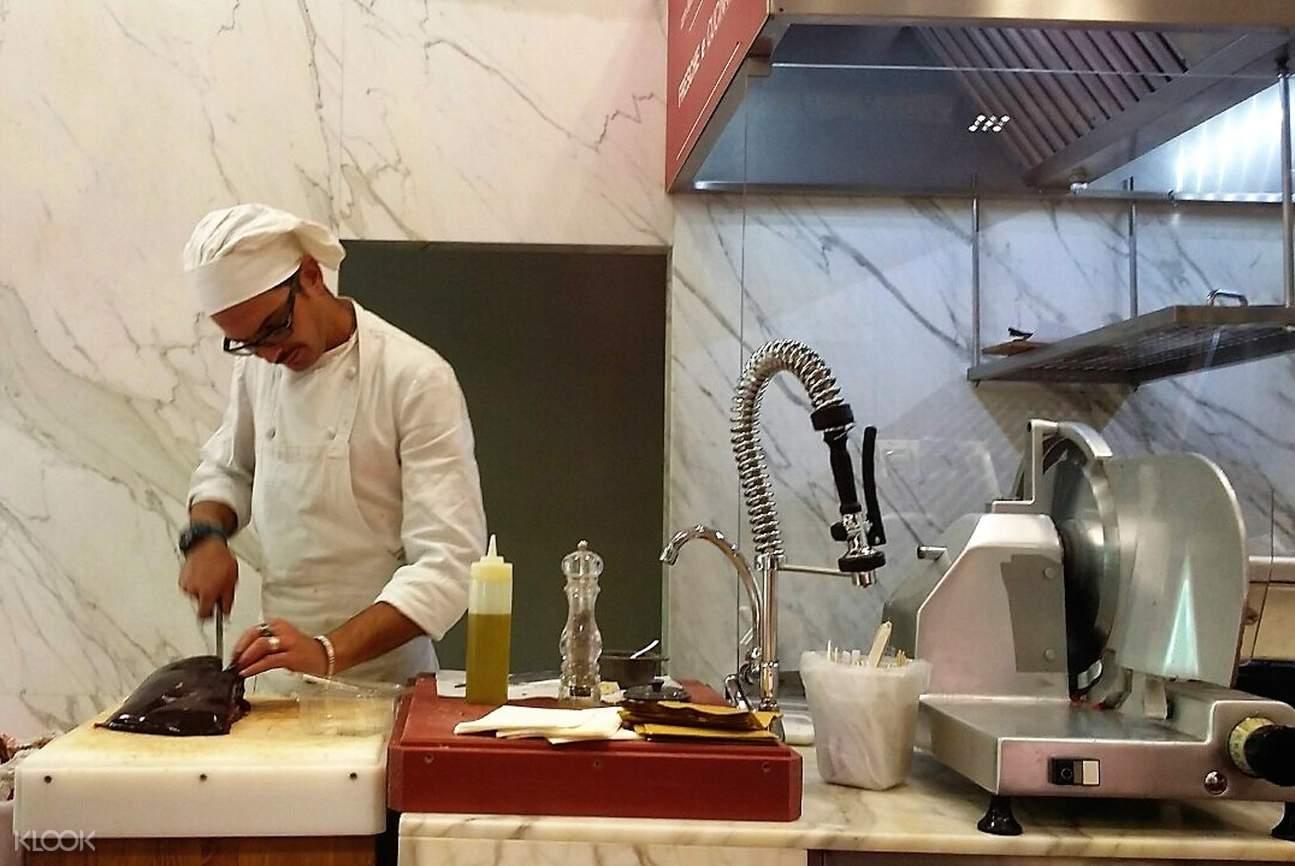 chef preparing a fish