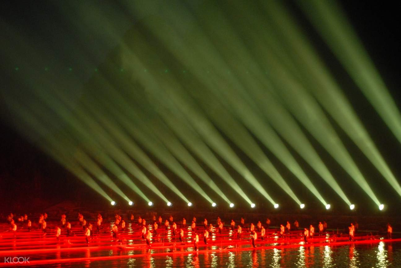 vibrant red lighting on the li river stage for the impression sanjie liu show