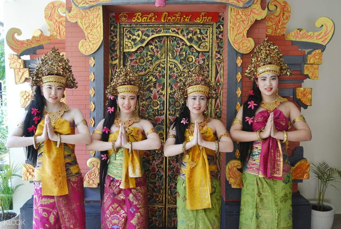 group of girls in balinese clothing