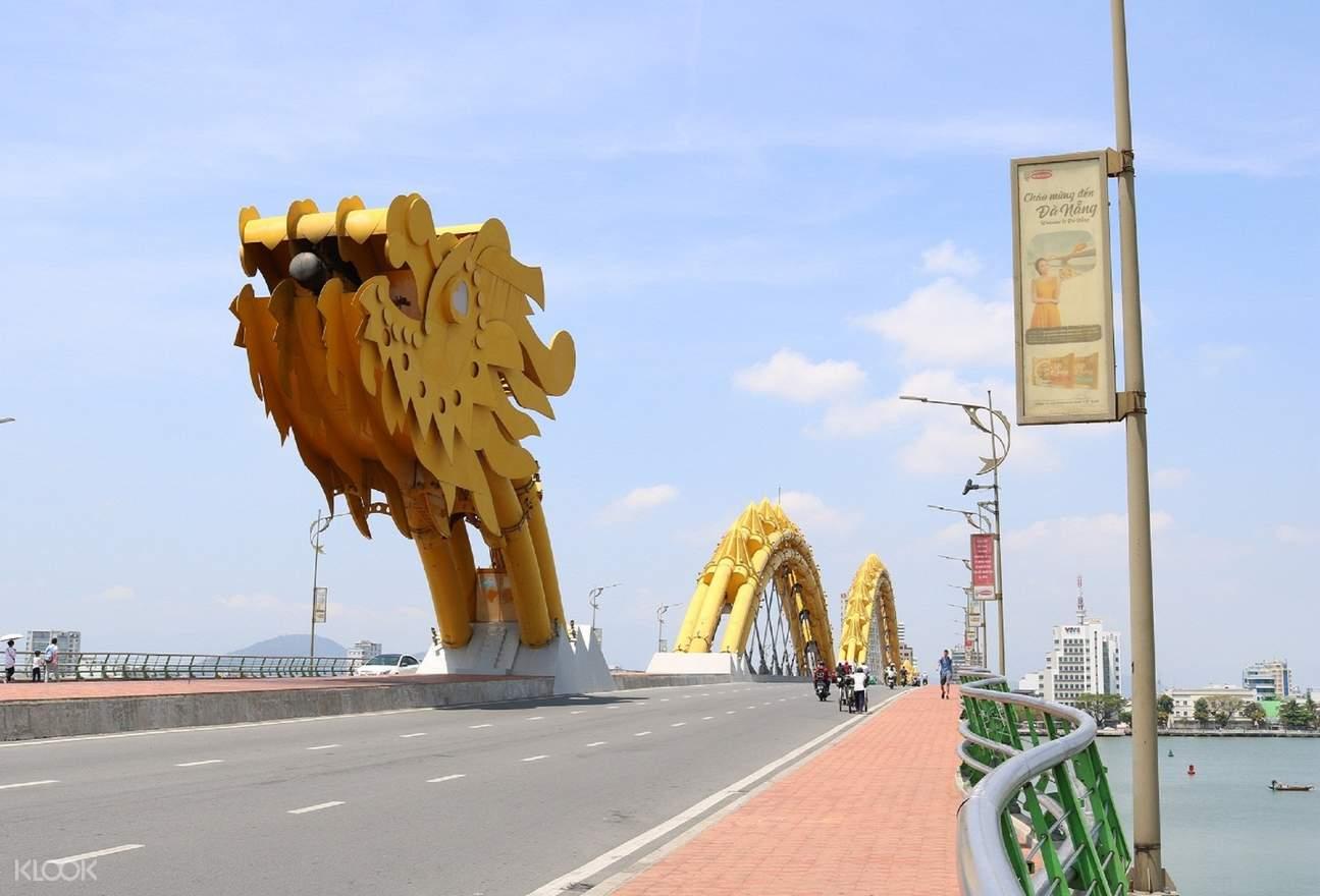 dragon bridge da nang city tour aodai rider