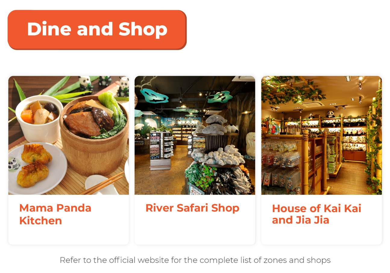 a list of places to dine and shop in singapore river safari