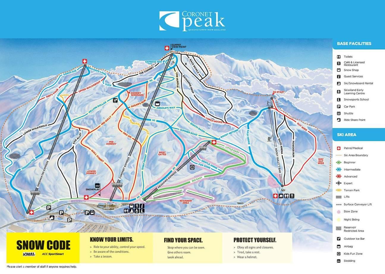 Map of Coronet Peak Ski Resort