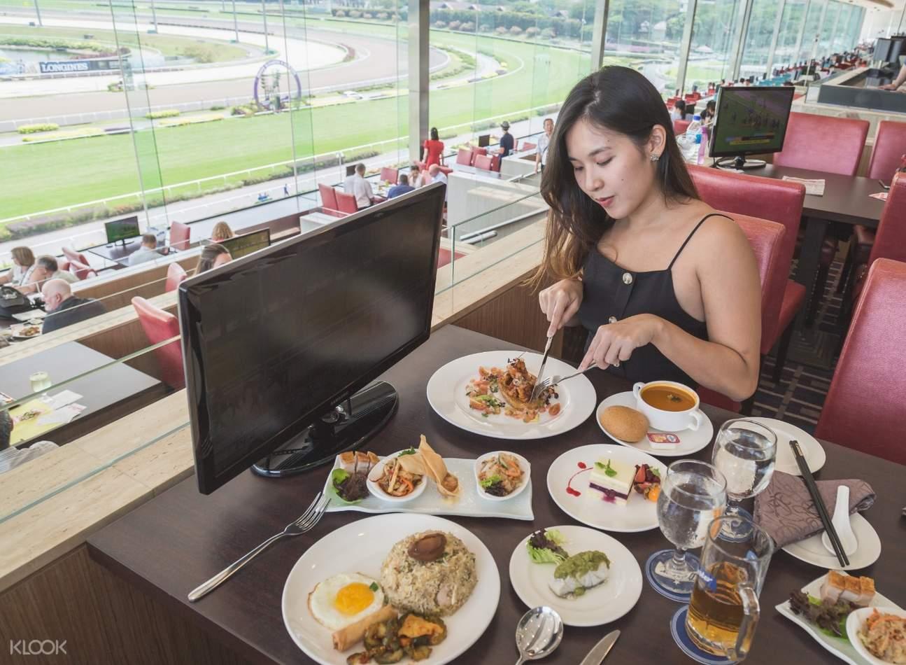 flatlay view of various singaporean meals