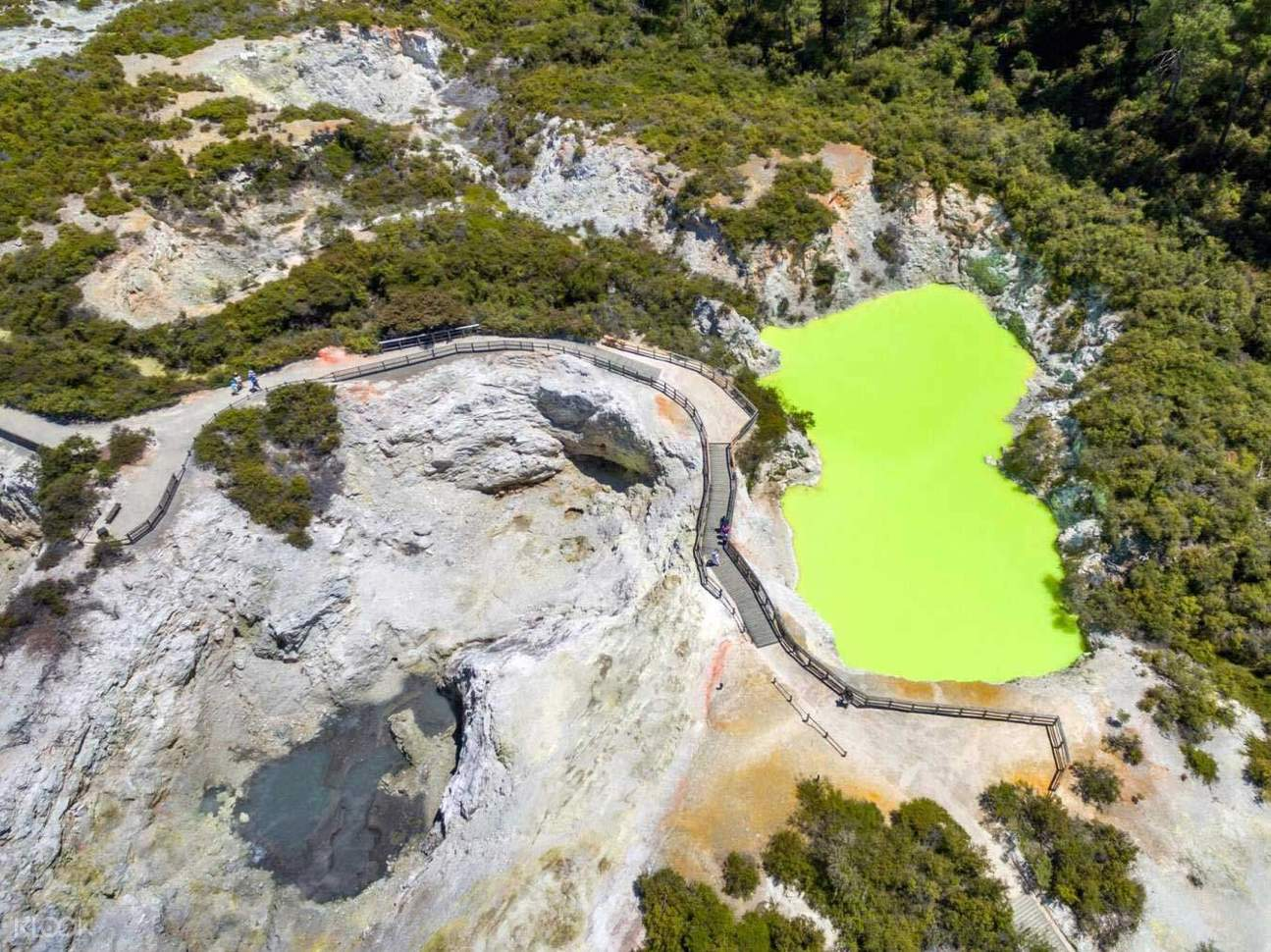 a drone view of the entire Wai-O-Tapu Geothermal Park!
