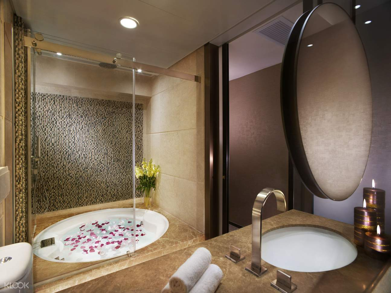 inside the Premier Harbour View Room Bathroom at Harbour Grand Hong Kong