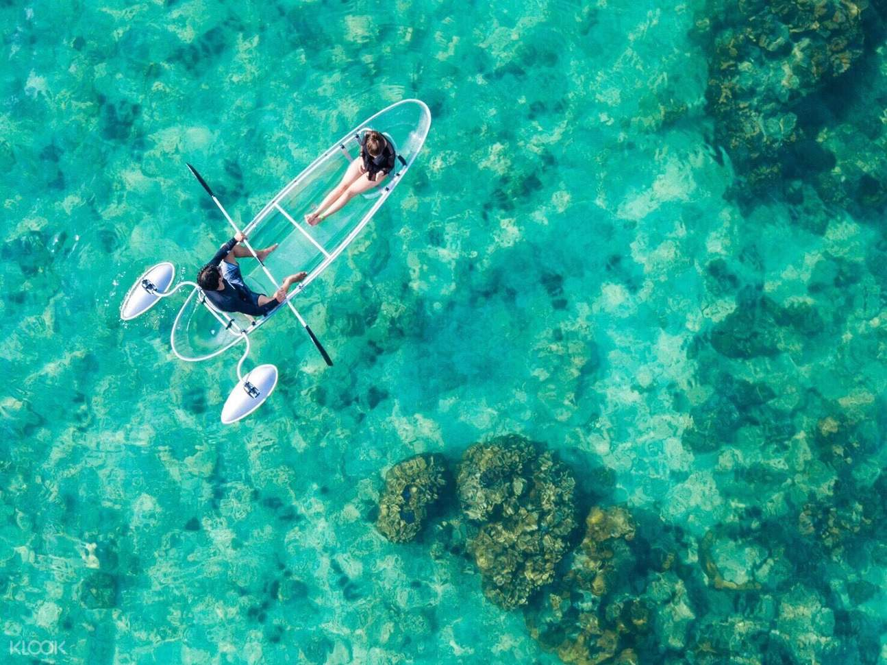 glass-bottom kayak on the sea
