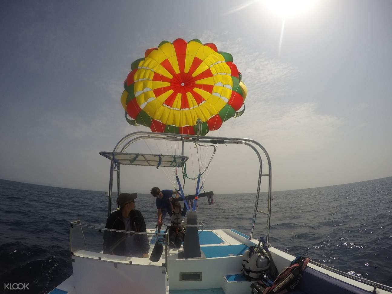 parasailing and snorkeling experience in sesoko island okinawa