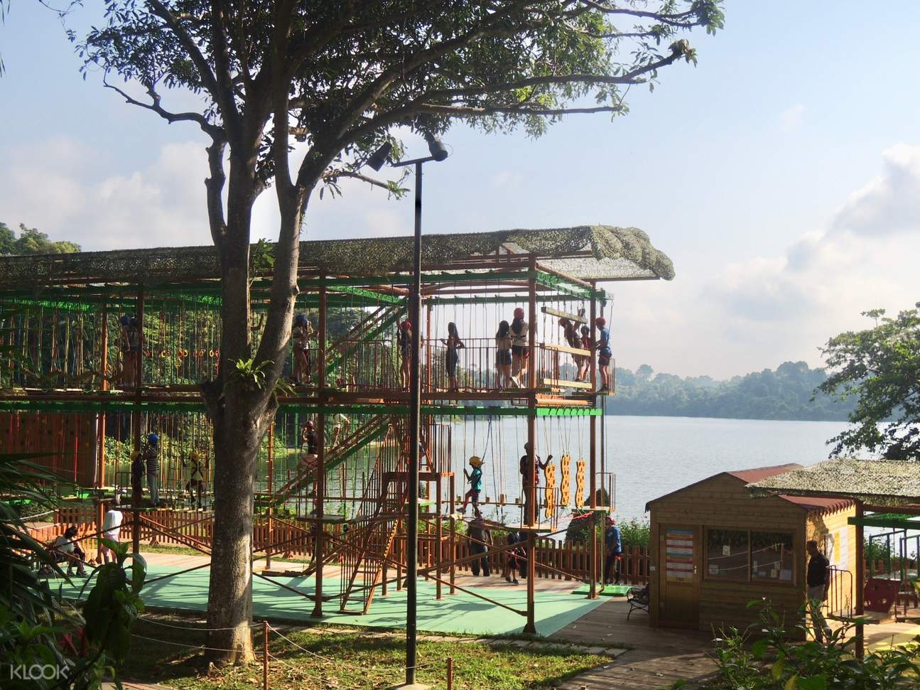 Enjoy the view of Lower Seletar Reservoir as you challenge the rope course
