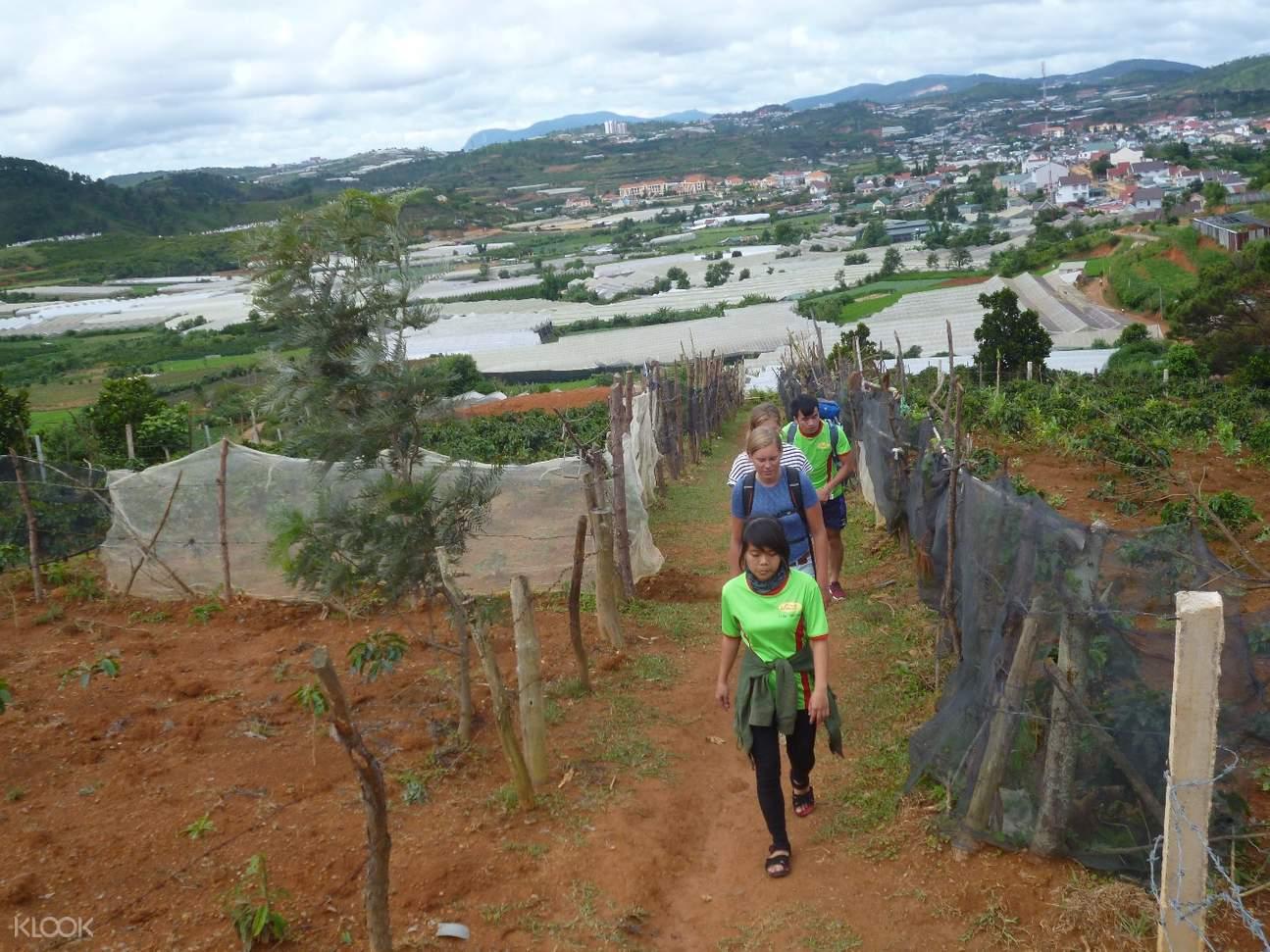 trekking to local farm da lat