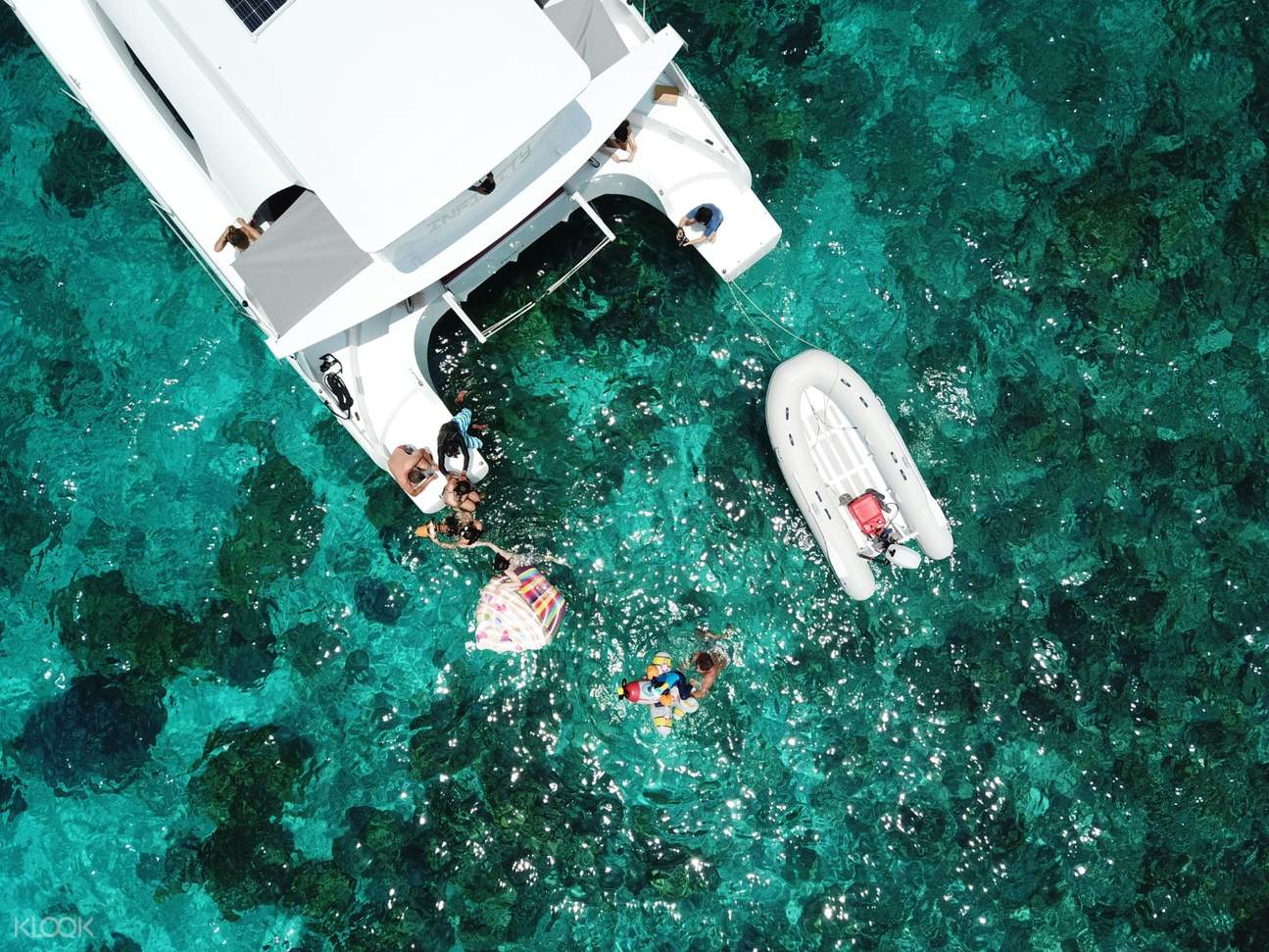 top view of motor yacht