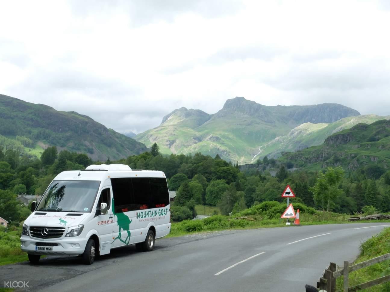 tour mini van on the road