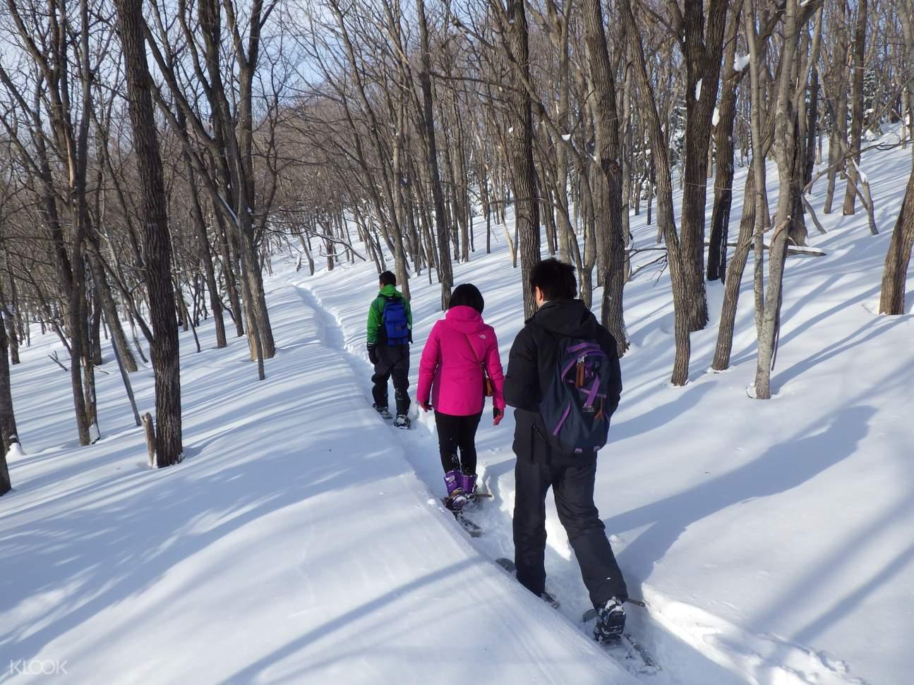Shiretoko Furepe Waterfall Winter Snowshoeing in Hokkaido