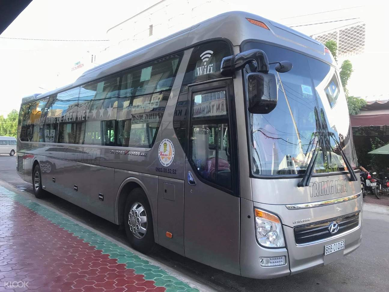 close-up of trung nga sleeper bus transfer from ho chi minh city to phan thiet
