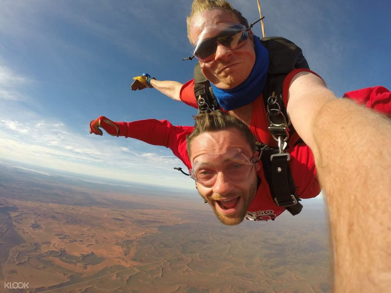 tandem skydiving selfie