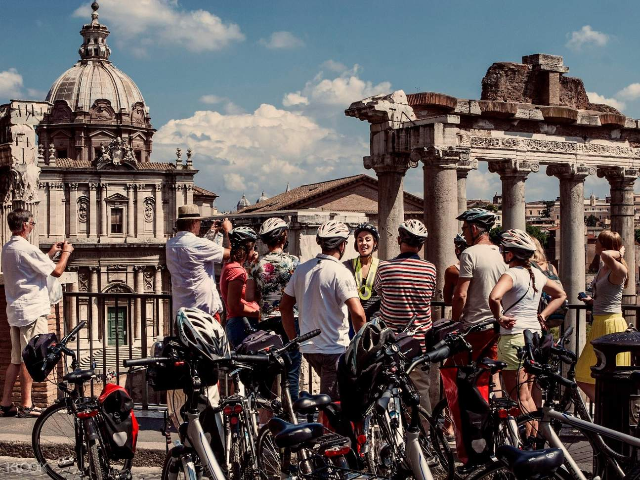 Group of tourists on their bikes