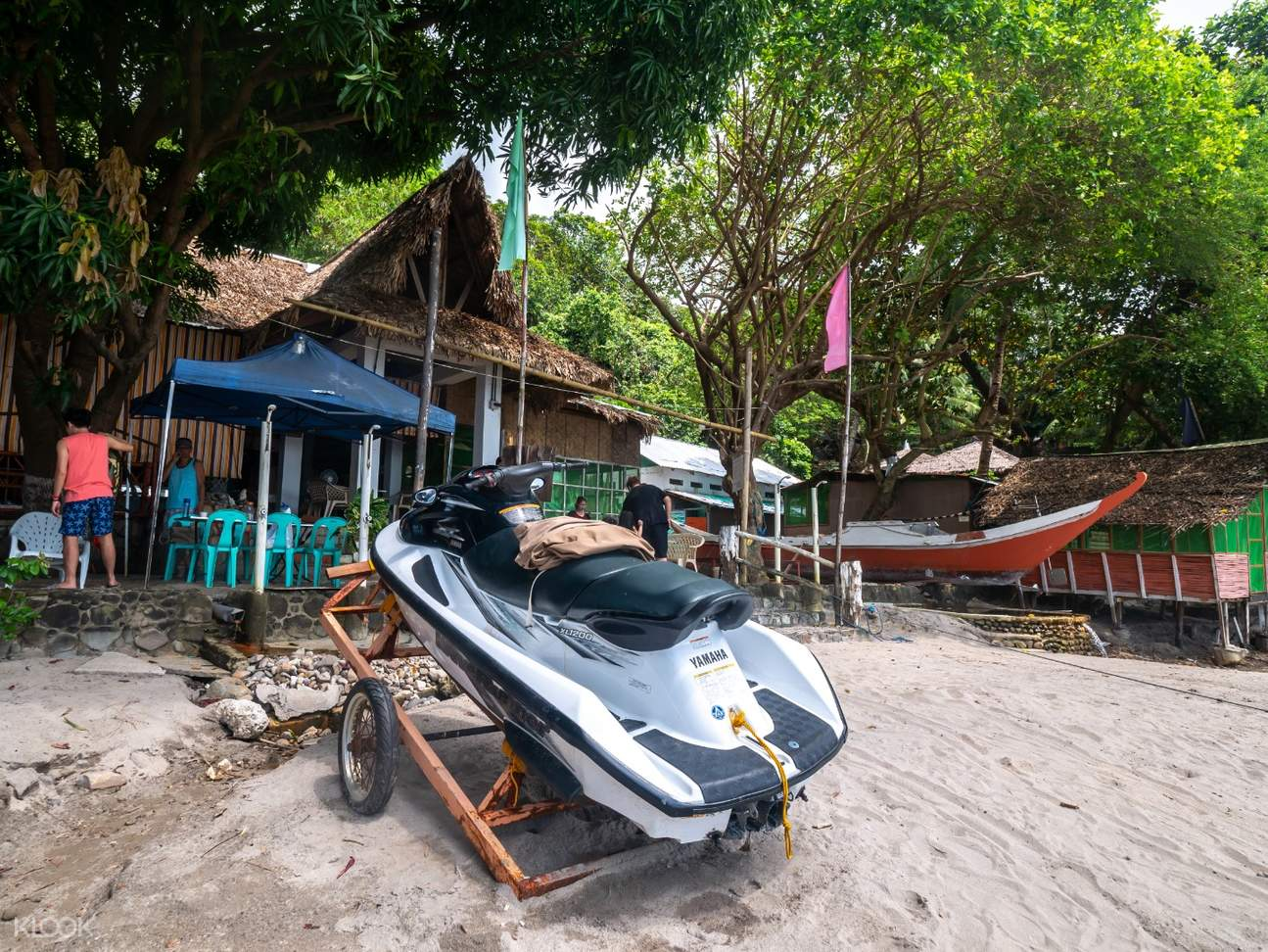 Jet ski parked on the beach